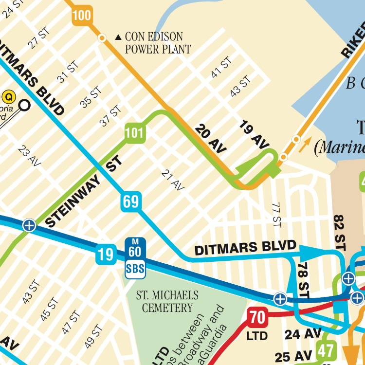 Astoria Nyc Map.Astoria Heights Queens Nyc Bus And Subway Map Queens Real Estate